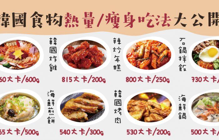 韓國食物熱量/瘦身吃法大公開~